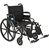 """Medline Premium Ultra-lightweight Wheelchair with Flip-Back Desk Arms and Elevating Leg Rests for Extra Comfort, Black, 22"""" x 18"""" Seat"""