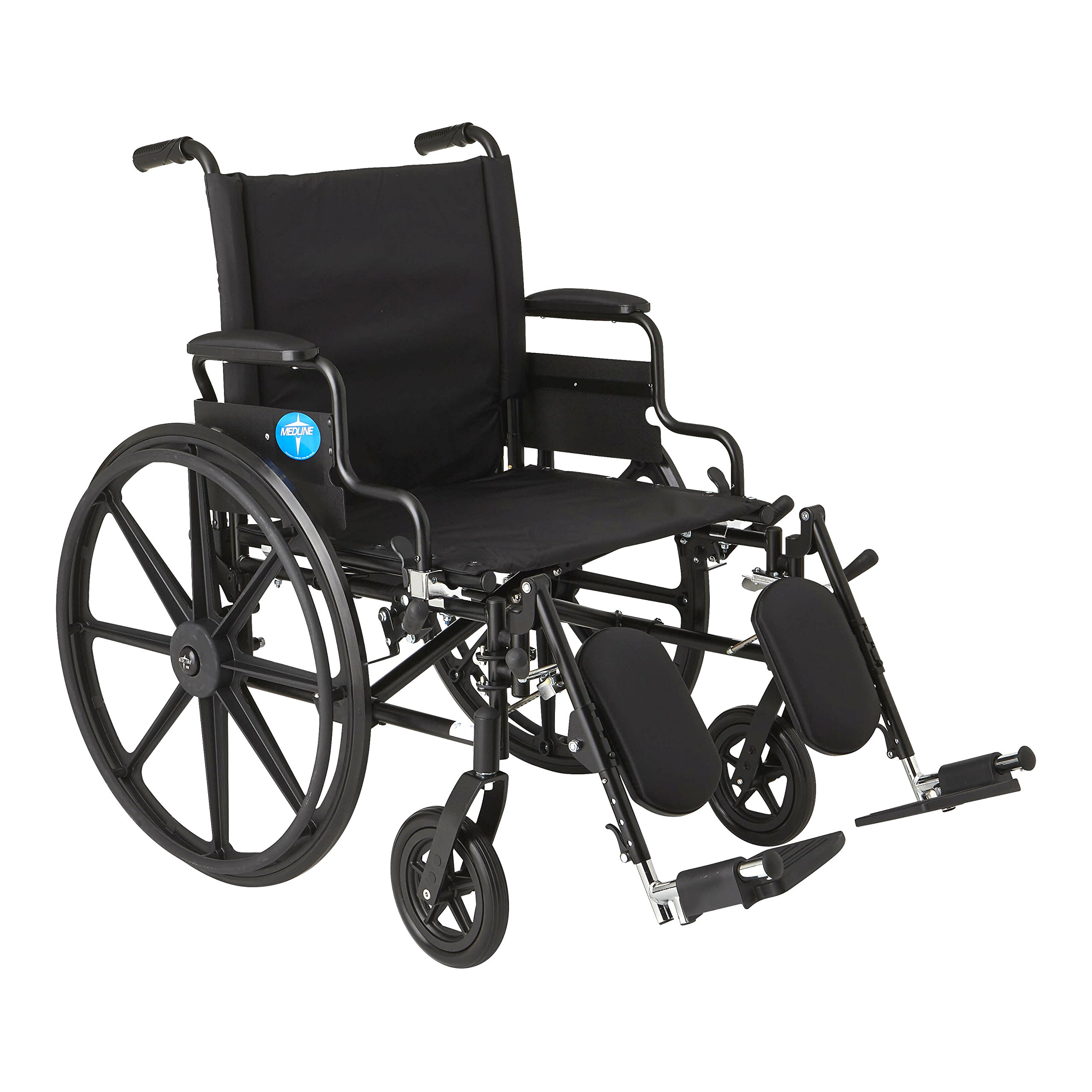 """Medline Premium Ultra-lightweight Wheelchair with Flip-Back Desk Arms and Elevating Leg Rests for Extra Comfort, Black, 22"""" x 18'' Seat"""