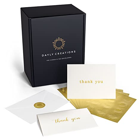 Amazon thank you cards bulk 100 gold foil letterpress thank thank you cards bulk 100 gold foil letterpress thank you notes with envelopes gold reheart Choice Image