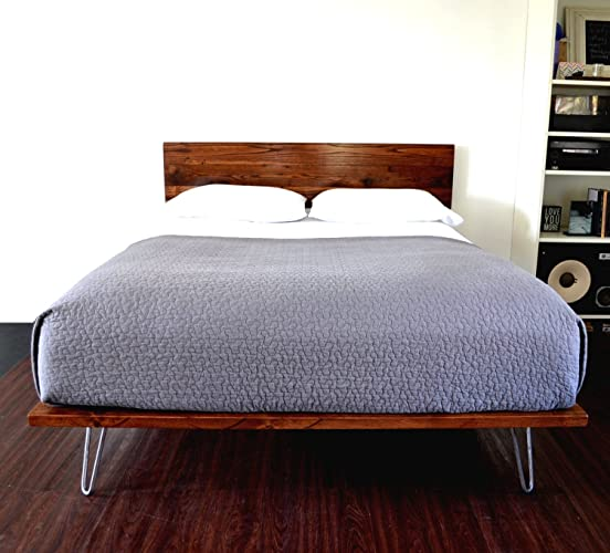 Amazon Com Platform Bed And Headboard On Hairpin Legs King Size