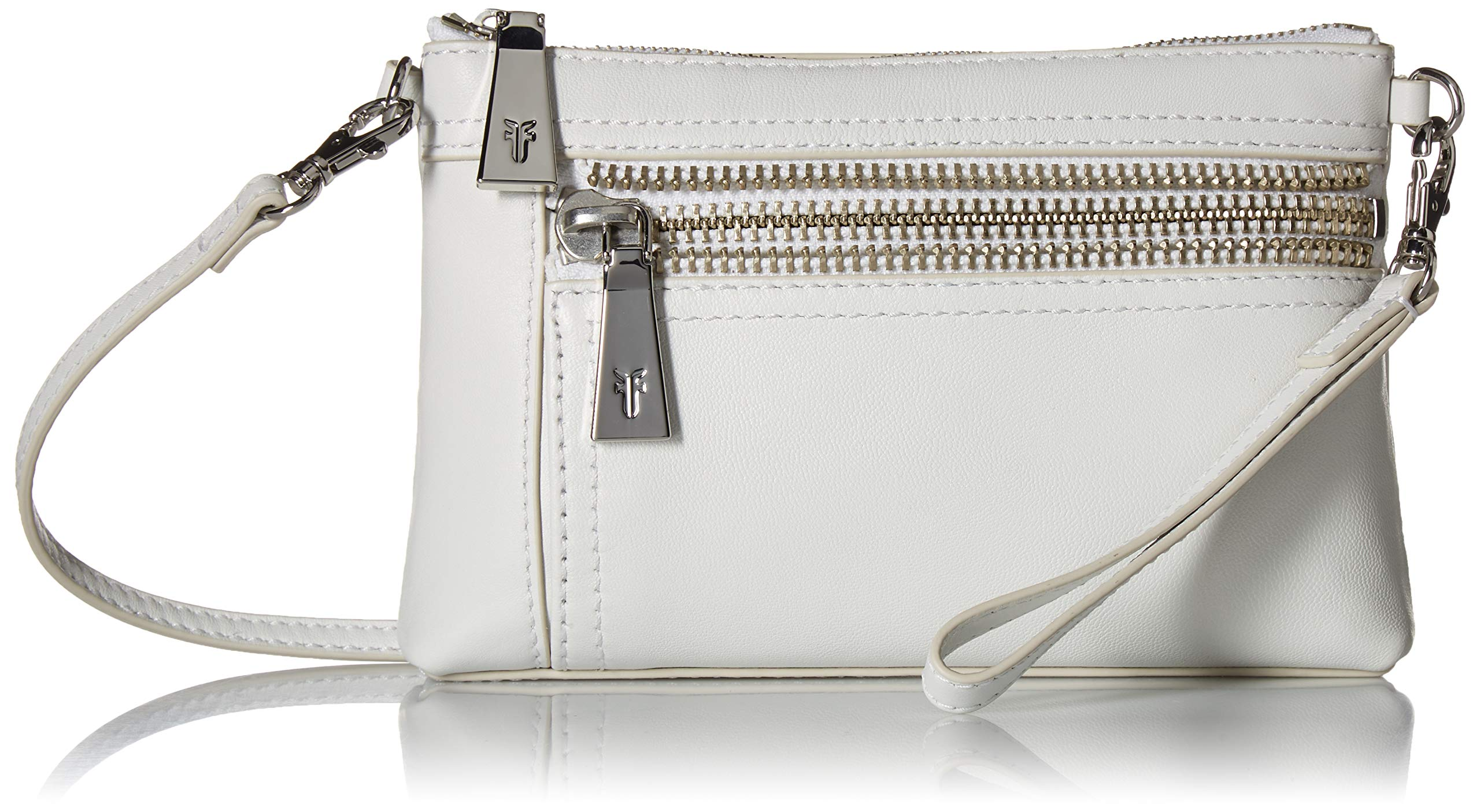 FRYE Lena Zip Leather Crossbody Wristlet Bag, white