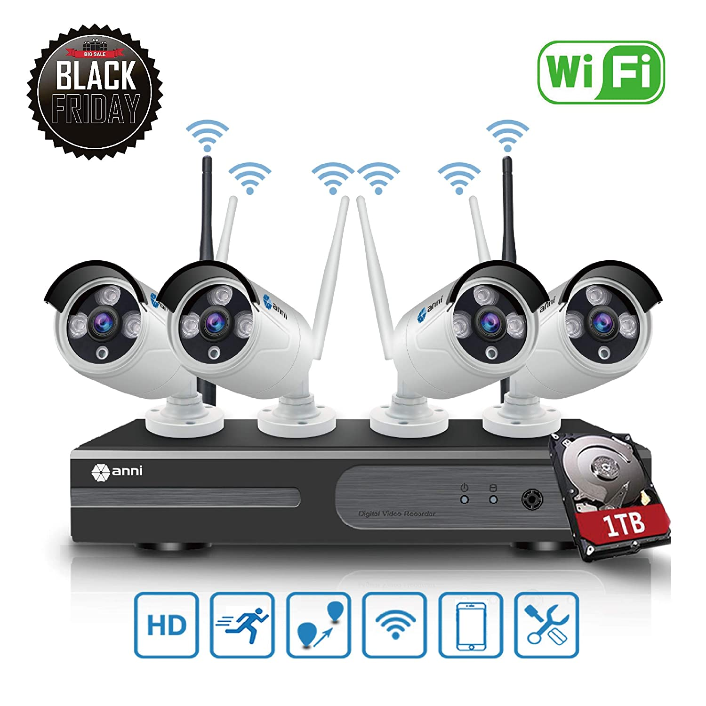Anni Kit de Cá maras Seguridad WiFi Vigilancia Inalá mbrica Sistema 1080P 4CH HD NVR, (4) 1.0MP 720P Cá mara CCTV Kit de Seguridad, P2P, Outdoor Visió n Nocturna de Cá mara De Sistema De Vigilancia, NO HDD Anni Security
