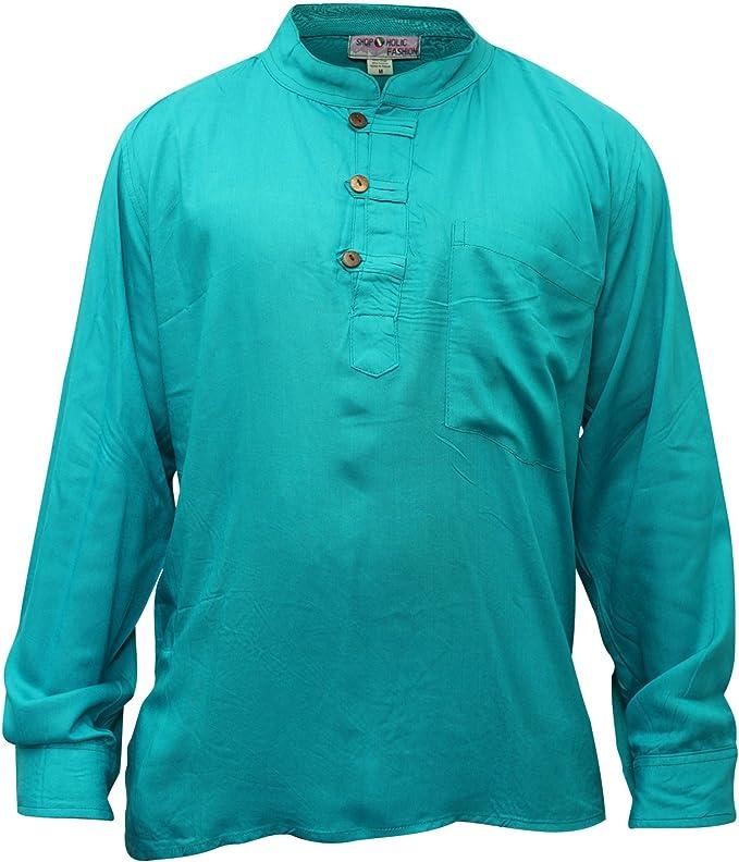 Shopoholic Fashion - Camisa para abuelo de lino hippie sin cuello para hombre: Amazon.es: Ropa y accesorios