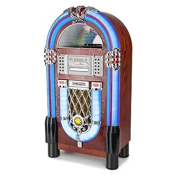 AUNA Graceland TT Jukebox Vintage - Bluetooth, Reproductor CD, Puerto USB, Tarjetas SD/MMC, Compatible MP3, Rockola Discos, Entrada AUX, Radio FM, ...