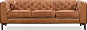 Poly and Bark Essex Sofa in Full-Grain Pure-Aniline Italian Tanned Leather in Cognac Tan