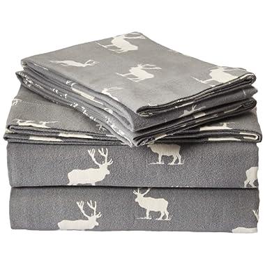 Eddie Bauer 216297 Elk Grove Flannel Sheet Set, Queen, Gray