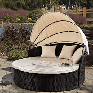 mitotai Outdoor Courtyard Sofa Recliner with Retractable Canopy Combined Round Sofa