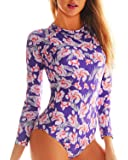 Funnygirl Women's Fashion Printing Rashguard Long Sleeve Zip UV Protection Print Surfing Swimsuit Swimwear Bathing Suits