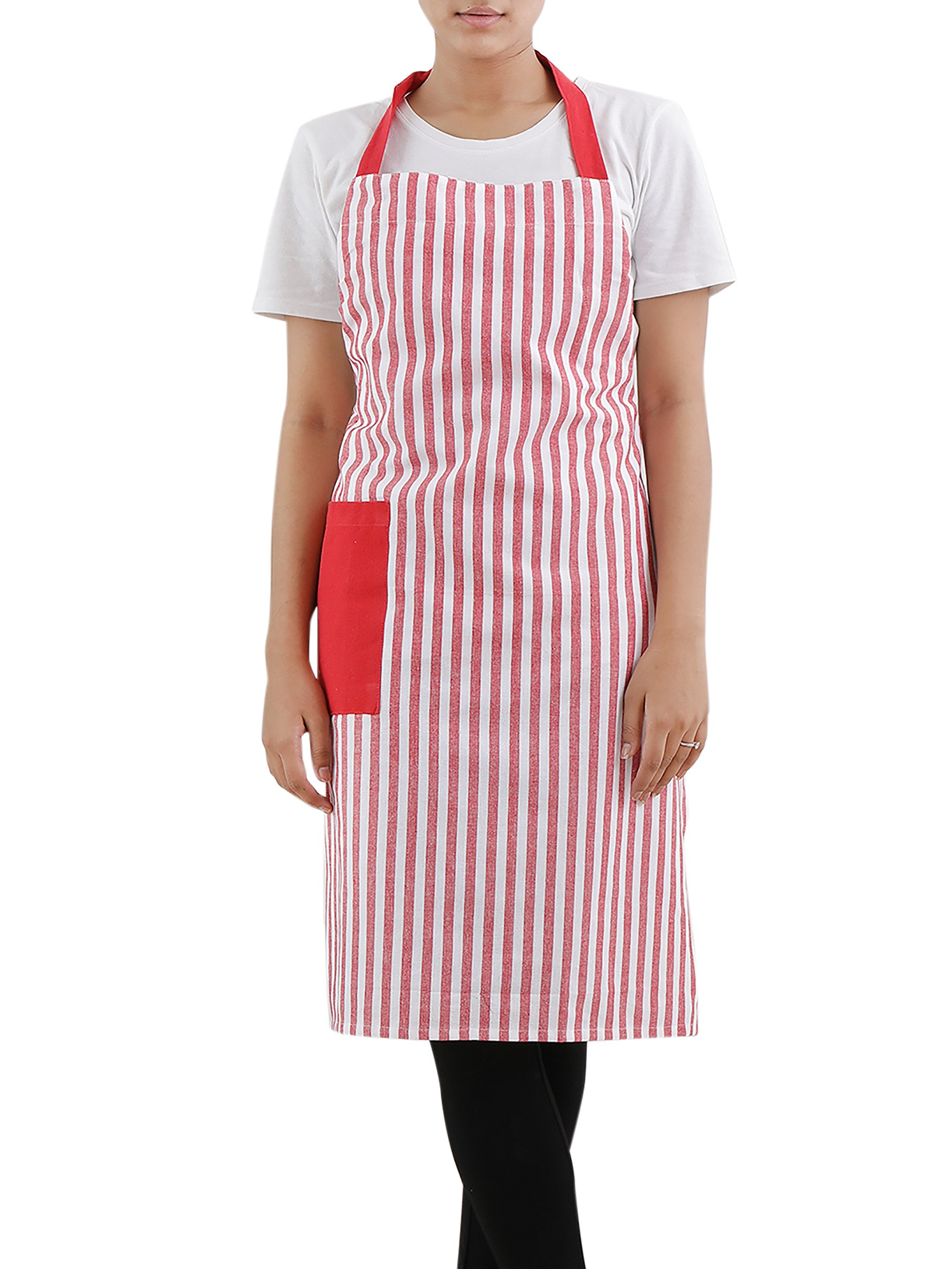 Cotton Bib Apron (27.5 x 33.5 Inches), Red & White Stripe - With adjusting neck strap and side pocket