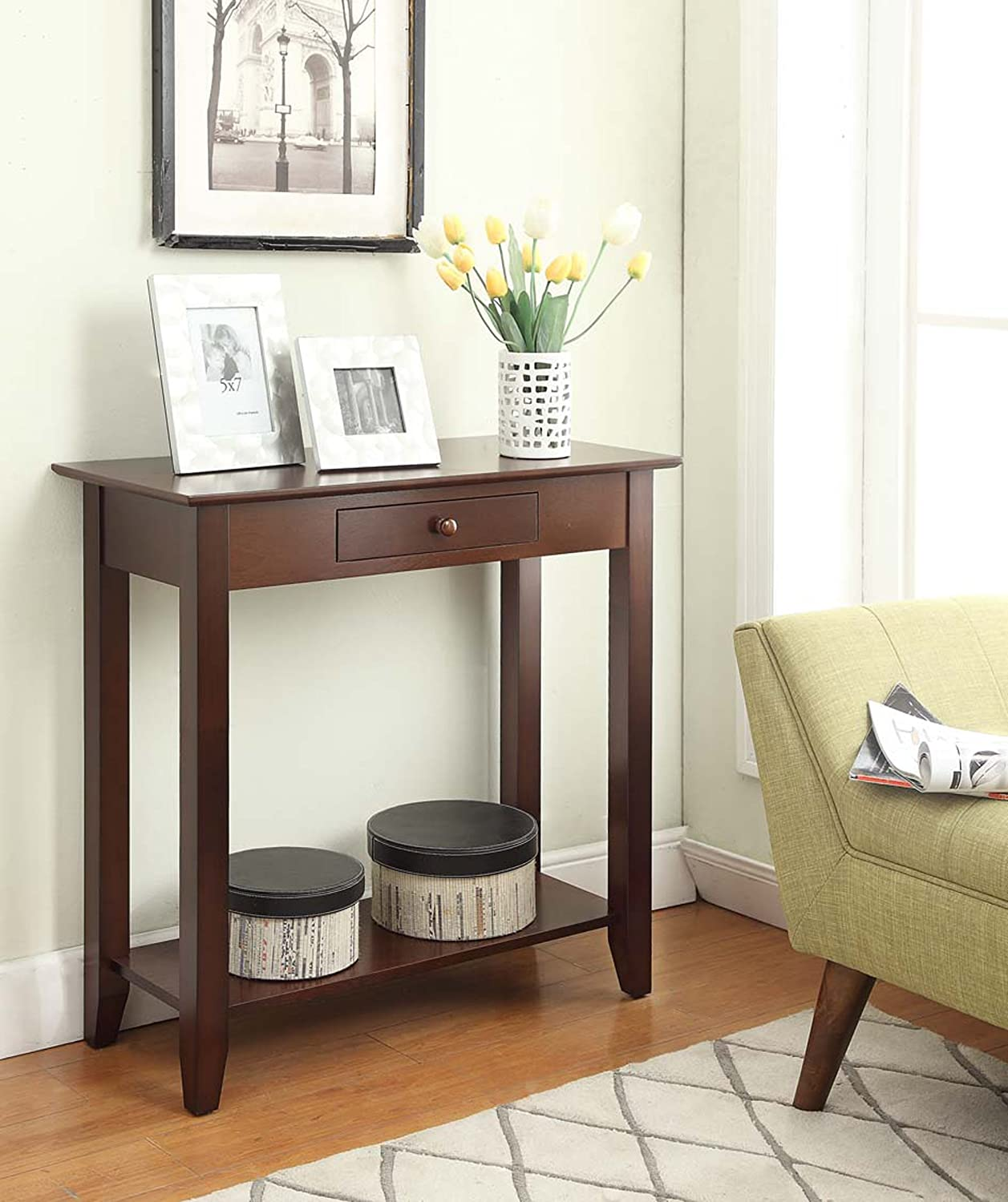 black hallway table. Amazon.com: Convenience Concepts American Heritage Hall Table With Drawer And Shelf, Espresso: Kitchen \u0026 Dining Black Hallway