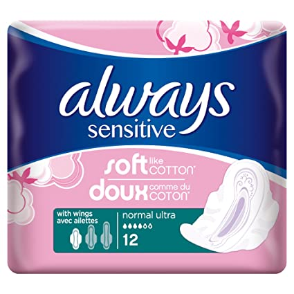 Always Sensitive Paquete de 12 toallas higiénicas normal y ultra con alas – Lot de 3