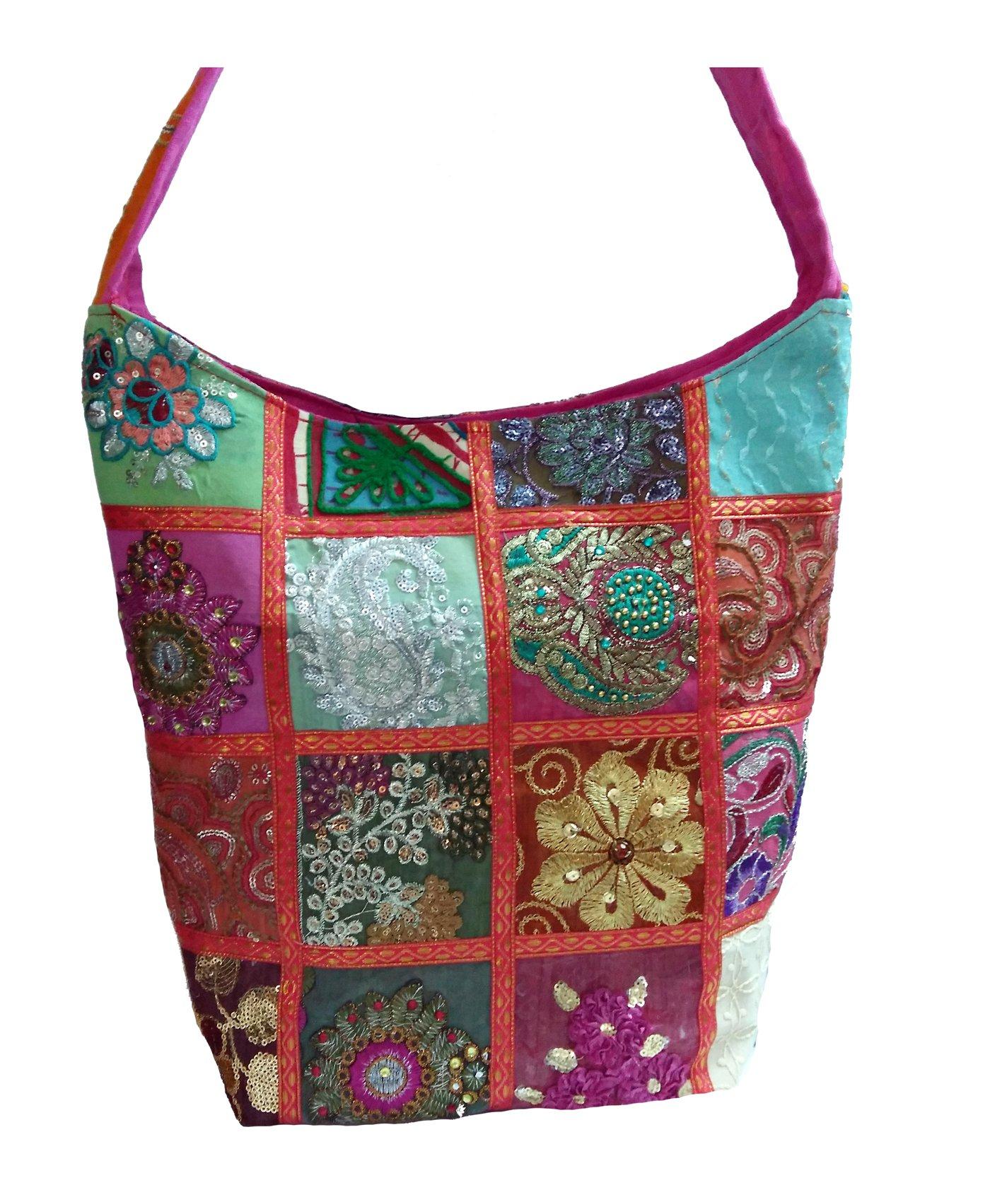 Embroidered Sequin Patchwork Indian Sari Throw Decorative Sling Cross body Shoulder Bag, Boho Hobo Vintage Bag, ''Traditional Looks'' ...