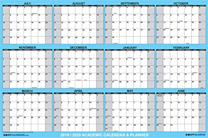Large Wall Calendar 2020 Amazon.: SwiftGlimpse 2019 2020 Academic Wall Calendar