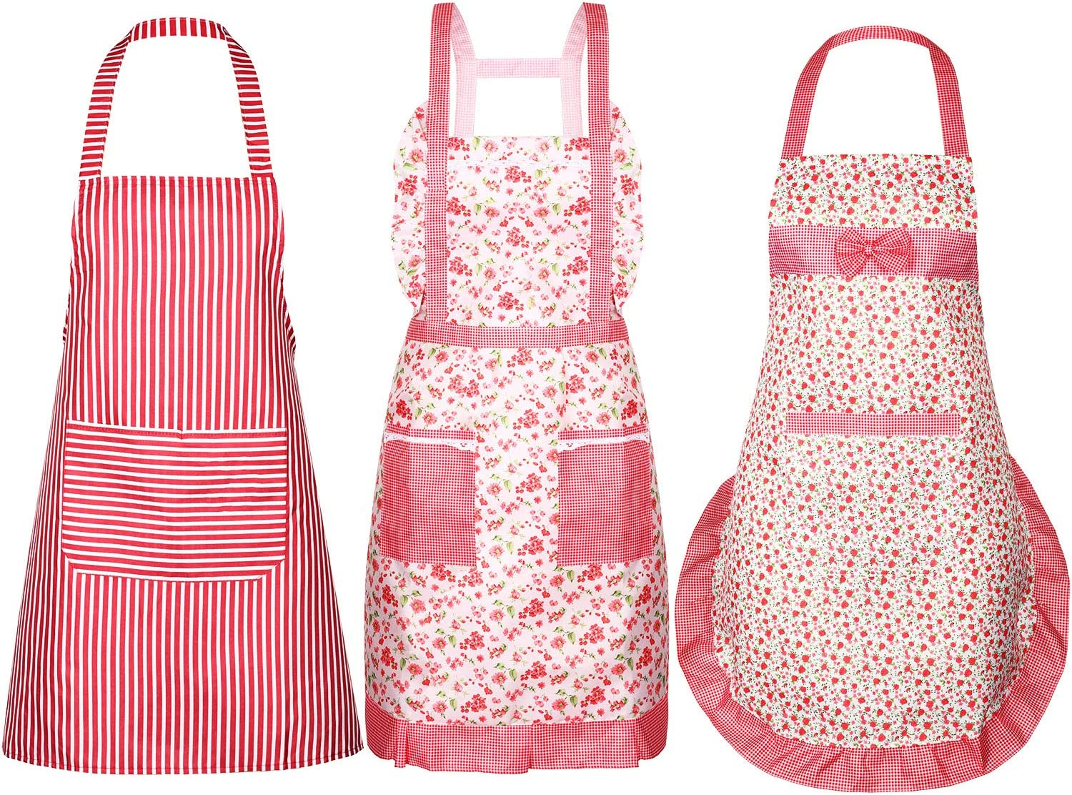 SATINIOR 3 Pieces Women Apron with Pockets Cute Vintage Cooking Apron Kitchen Housework Aprons for Christmas Thanksgiving Gift (Color Set 5, Size Set 5)