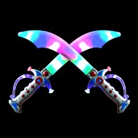 "2 Deluxe Pirate 19.5"" LED Light Up Flashing Buccaneer Swords with Motion Activated Clanging Sounds for Realistic…"
