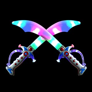 """2 Deluxe Pirate 19.5"""" LED Light Up Flashing Buccaneer Swords with Motion Activated Clanging Sounds for Realistic Buccaneer Pirate Play, Halloween Party, by Spooktacular Creations"""