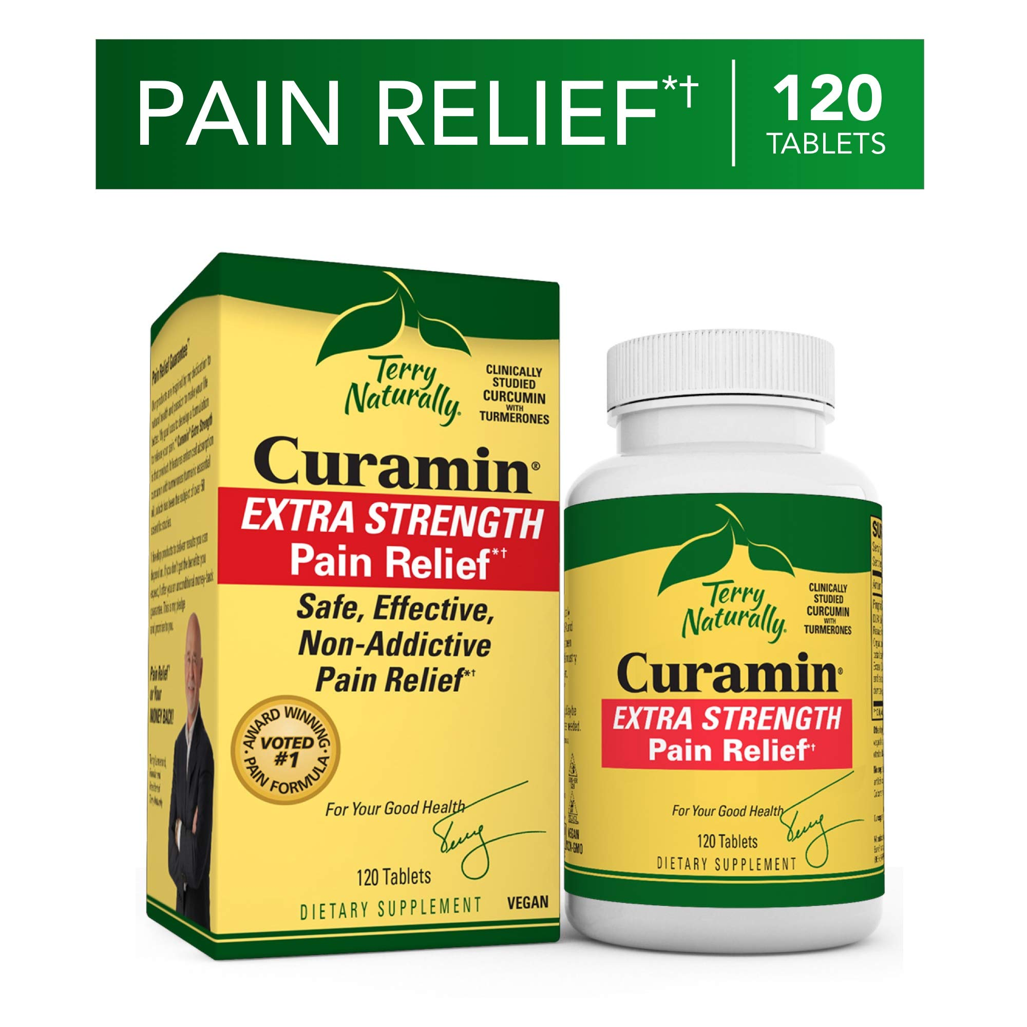 Terry Naturally Curamin Extra Strength - 120 Vegan Tablets - Non-Addictive Pain Relief Supplement with Curcumin from Turmeric, Boswellia & DLPA - Non-GMO, Gluten-Free - 40 Servings by Terry Naturally