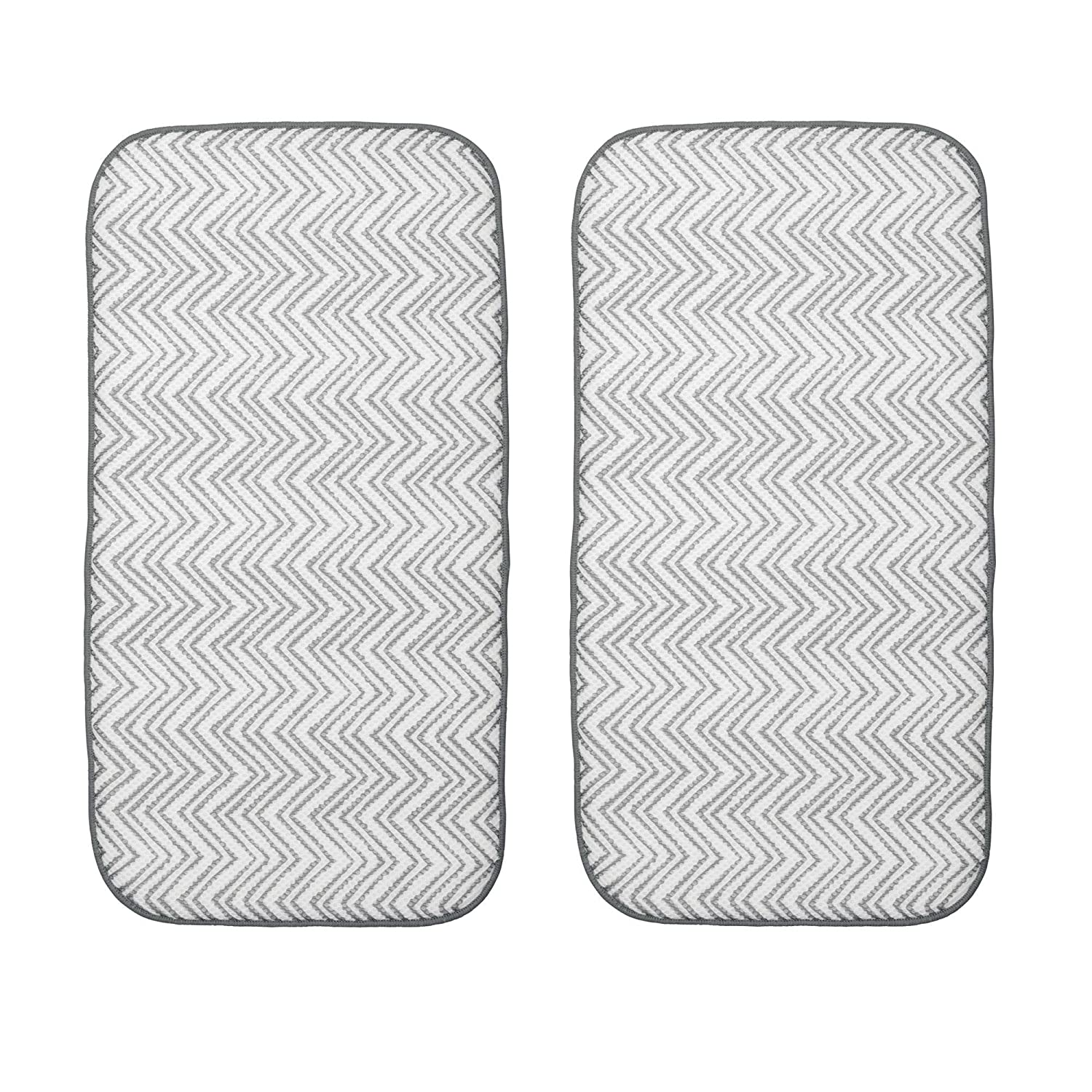 mDesign Narrow Small Microfiber Reversible Chevron Fabric Counter and Dish Drying Mats for Kitchen Sink Dishes Drainer - Pack of 2, Gray/White MetroDecor