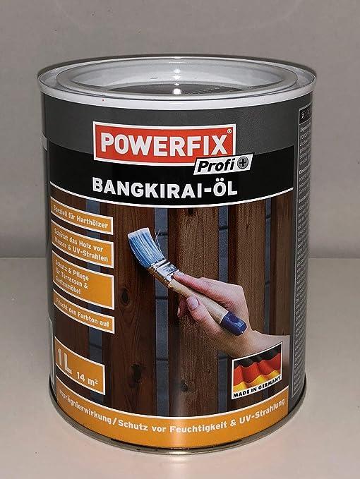 Powerfix Bangkirai Huile De Bois 1 L Pour Environ 14 M²