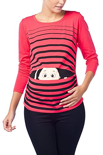 Camiseta premamá de manga larga, diseño divertido