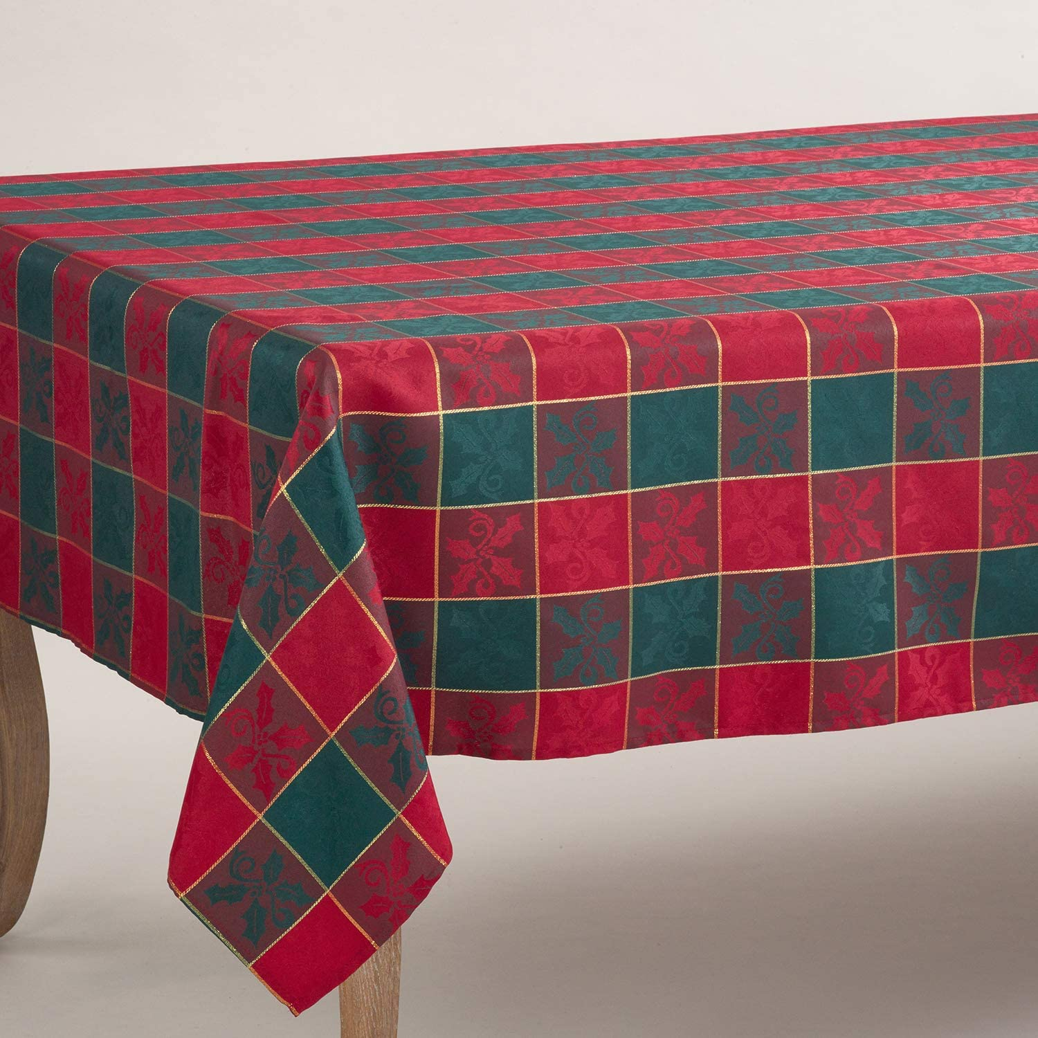 Royal de Noel Classic Plaid Holiday Square Tablecloth Red and Green