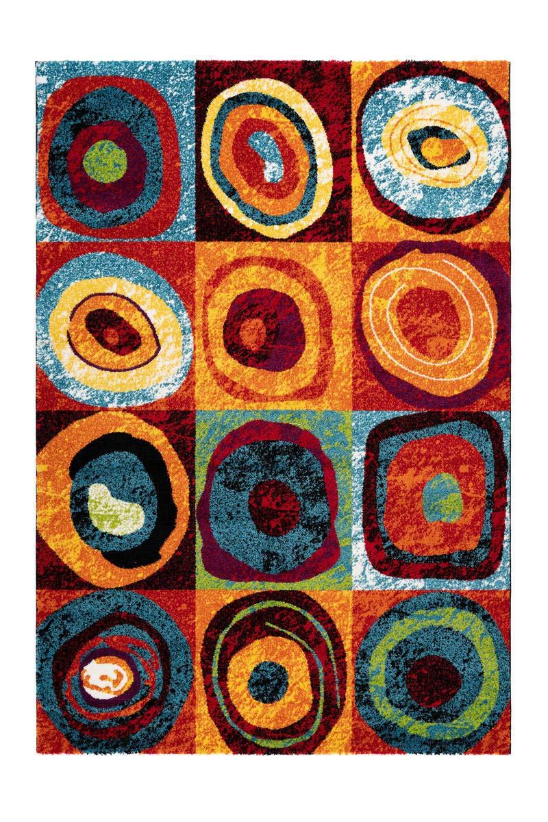 Teppich Bunt Kasten Kreis Muster Design Teppiche Wohnzimmer Rot Orange Gelb Blau