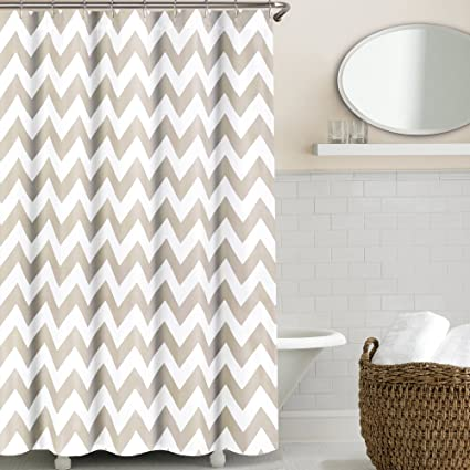 Echelon Home Chevron Shower Curtain Taupe