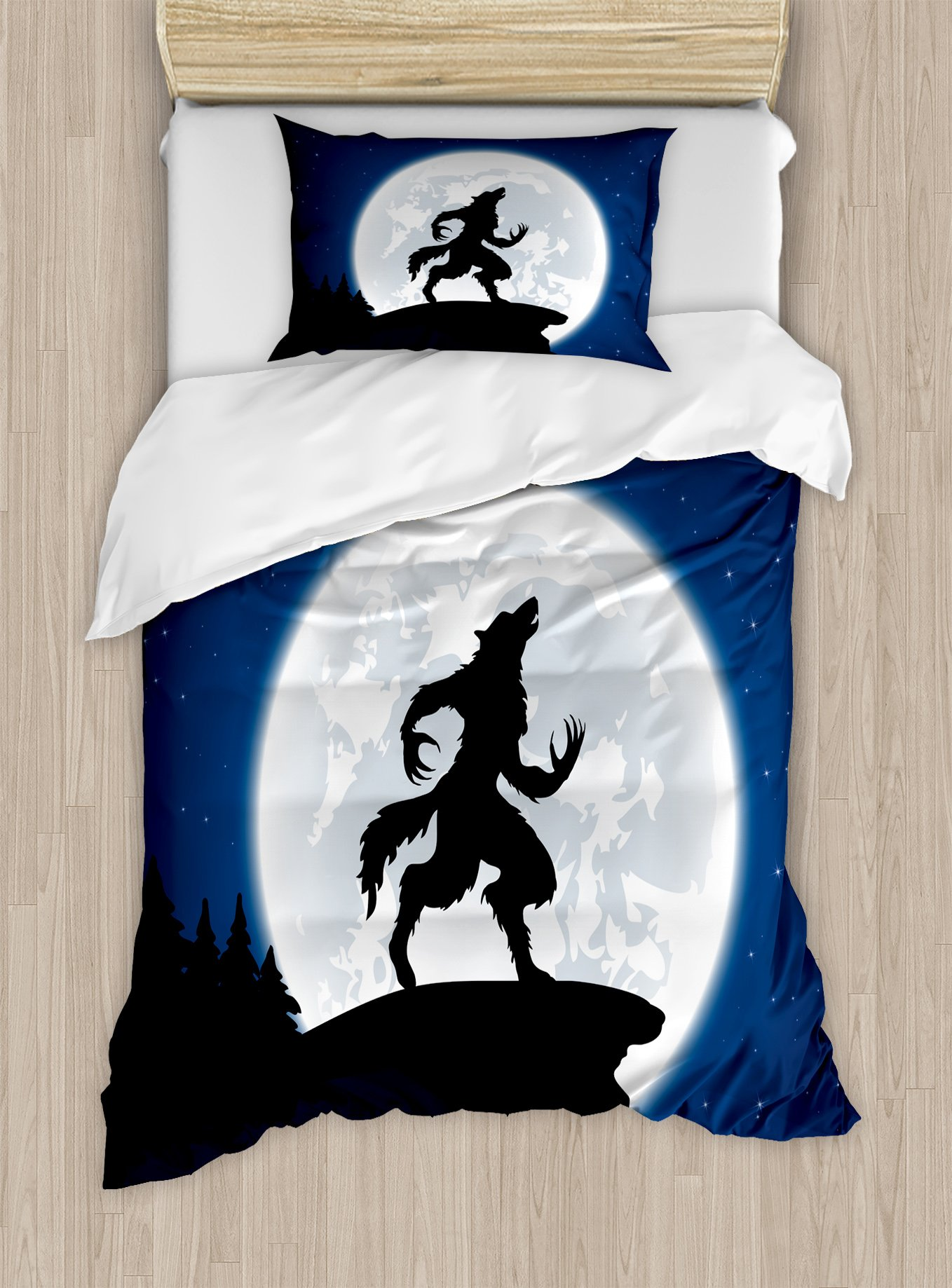 Ambesonne Wolf Duvet Cover Set Twin Size, Full Moon Night Sky Growling Werewolf Mythical Creature in Woods Halloween, Decorative 2 Piece Bedding Set with 1 Pillow Sham, Dark Blue Black White