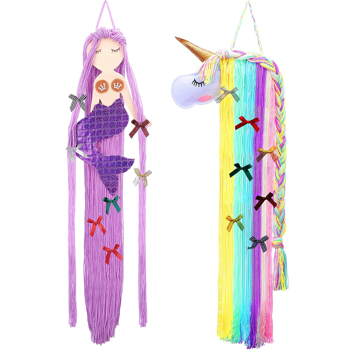 2 Pieces Mermaid Hair Bow Holder Unicorn Clips Holder Unicorn Clip Headband Organizer Clips Storage Organizer Bow Hanger Mermaid Unicorn Home Decoration for Girls Room Theme Party