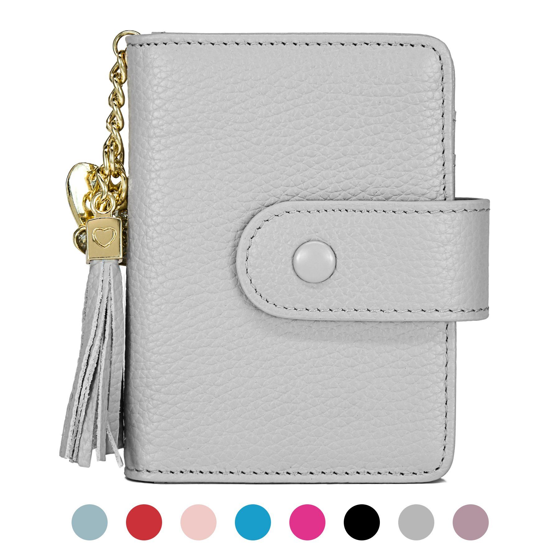 Women's Mini Credit Card Case Wallet with ID Window and Card Holder purse 9 Colors(Grey)
