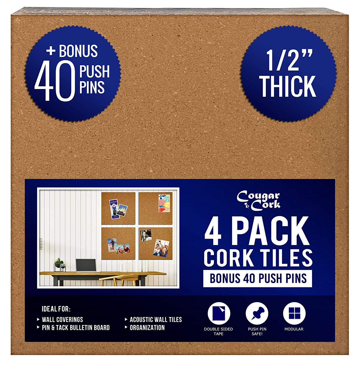 Cork Board Tiles 12x12 by Cougar Cork - 1/2 Thick - 40 Bonus Push Pins - Extra Strength Self Adhesive Backing - 4 Pack Cork Tiles - Bulletin Board - Mini Wall