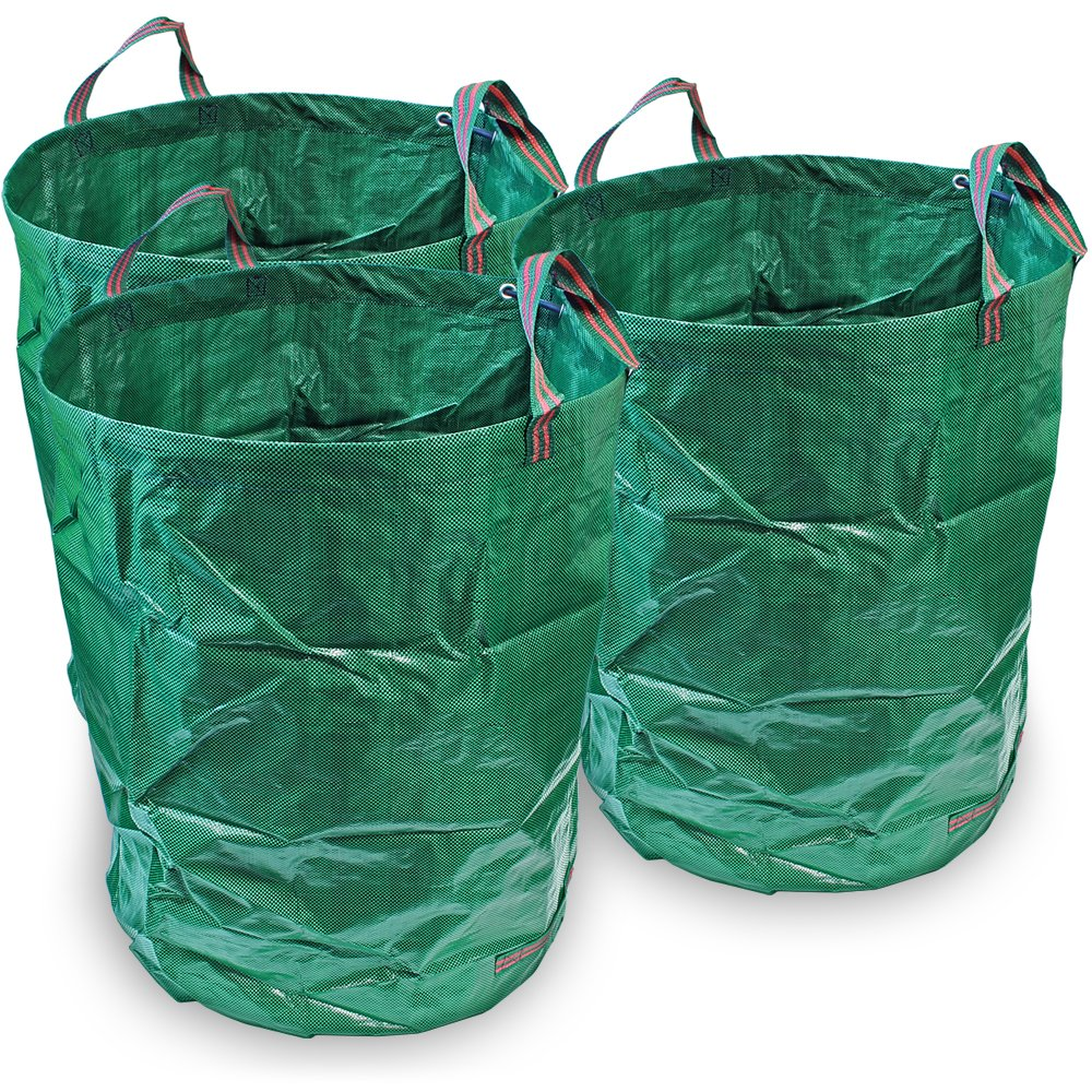 CampTeck 3 x 300 Litres Garden Waste Bag Polypropylene Heavy Duty Reusable Garden Refuse Sack