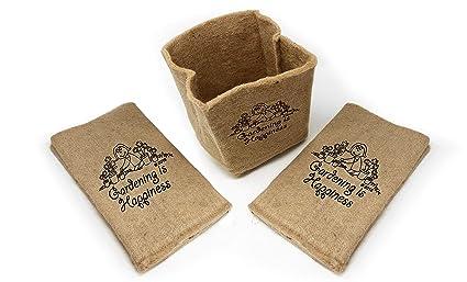 Amazon.com: Macetas de yute orgánico para cultivar – bolsas ...