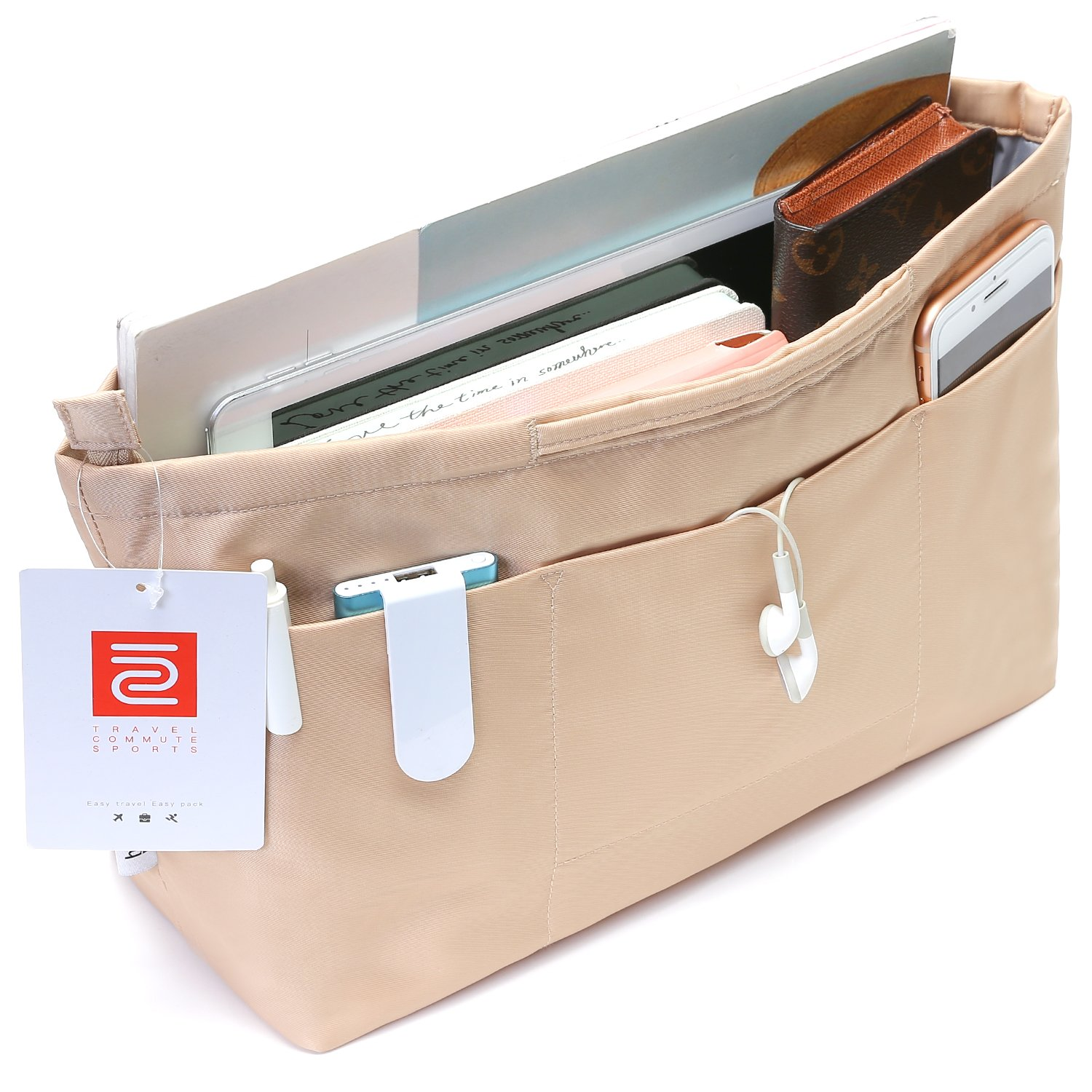 iN. Multi-Pocket Travel Handbag Organizer Insert Medium for Tote bag Purse Liner Insert Organizer With Handles(Medium Khaki)