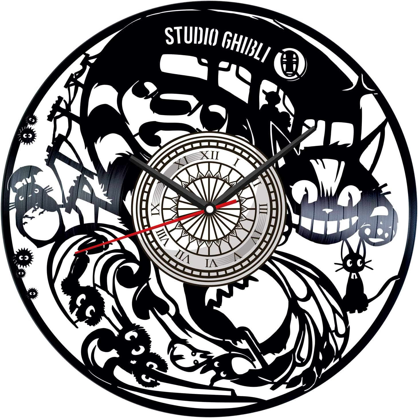 Studio Ghibli Vinyl Record Wall Clock Poster - Vintage Home Decor Kitchen Bedroom Living Room Office - Unique Handmade Gift for Men Woman Friends Boys - 12 inches