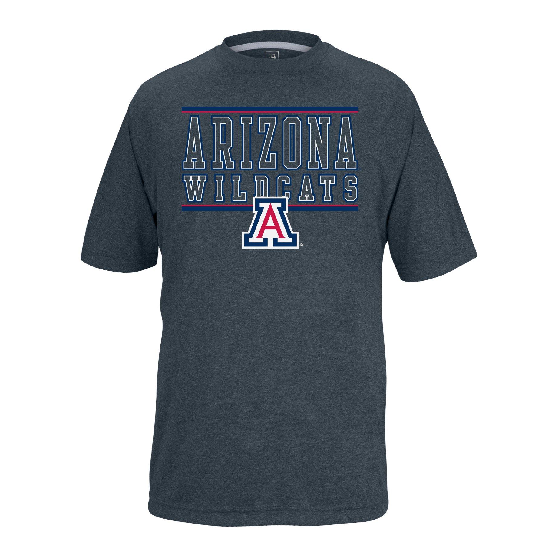 NCAA Arizona Wildcats Boys Youth Bar Design Vital Poly Tee, Charcoal Heather, Small