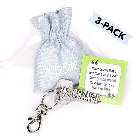 3-PACK key2Bme CHANGE THE WORLD key - world globe keychain   inspirational  quote - 653b428088b5