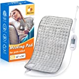 XL Electric Heating Pad for Back Pain with Auto Shut Off in 90 min, Dry Heat Only, 3 Heat Level Settings, 100% Soft…