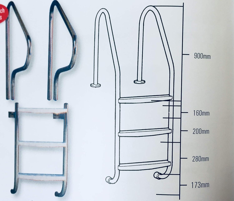 Certikin - Escalera para Piscina (Acero Inoxidable, 3 peldaños, 38 mm): Amazon.es: Jardín