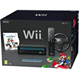 Nintendo Wii Console (Black) with Mario Kart Wii: Includes Wii Wheel and Wii Remote Plus