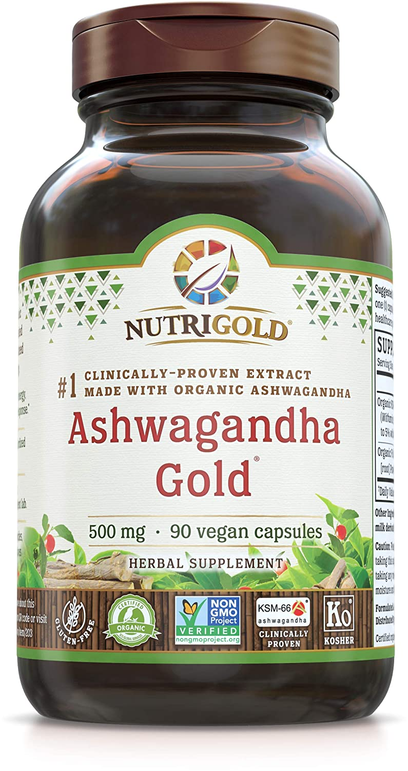 NutriGold Organic Ashwagandha Gold, 500 mg, 90 Plantcaps -  Clinically-Proven, Non-GMO, Full-Spectrum