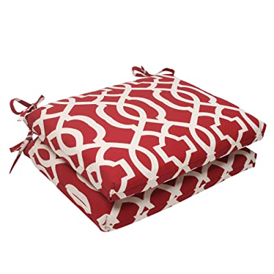 Pillow Perfect Indoor/Outdoor New Geo Squared Seat Cushion, Red, Set of 2: Home & Kitchen