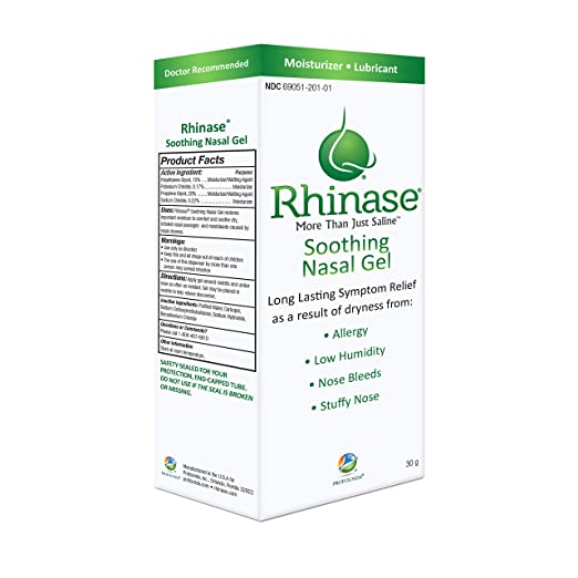 Rhinase Allergy Relief Lubricating Nasal Gel – Steroid Free, Dual Wetting  Agent & Salt Formulation (1 oz )