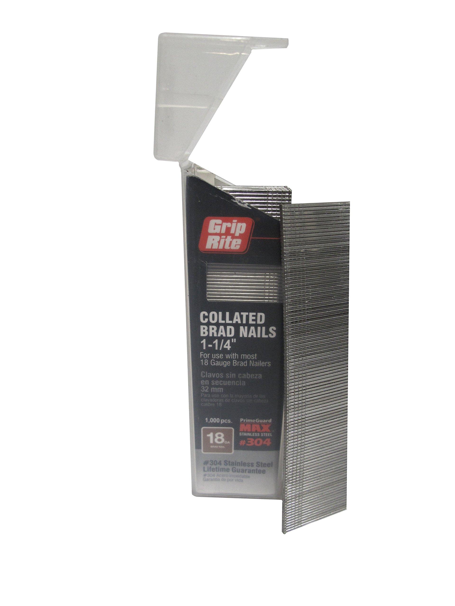 Grip Rite Prime Guard MAXB64876 18-Gauge 304-Stainless Steel Brad Nails in Belt-Clip Box (Pack of 1000), 1-1/4''