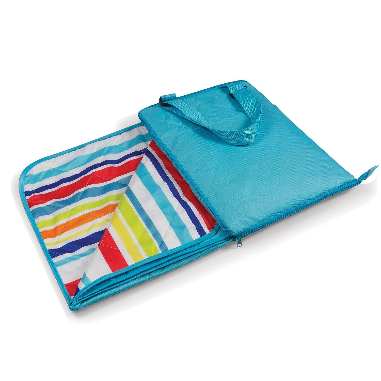 ONIVA - a Picnic Time brand Vista Outdoor Picnic Blanket Tote, Aqua with Fun Stripes