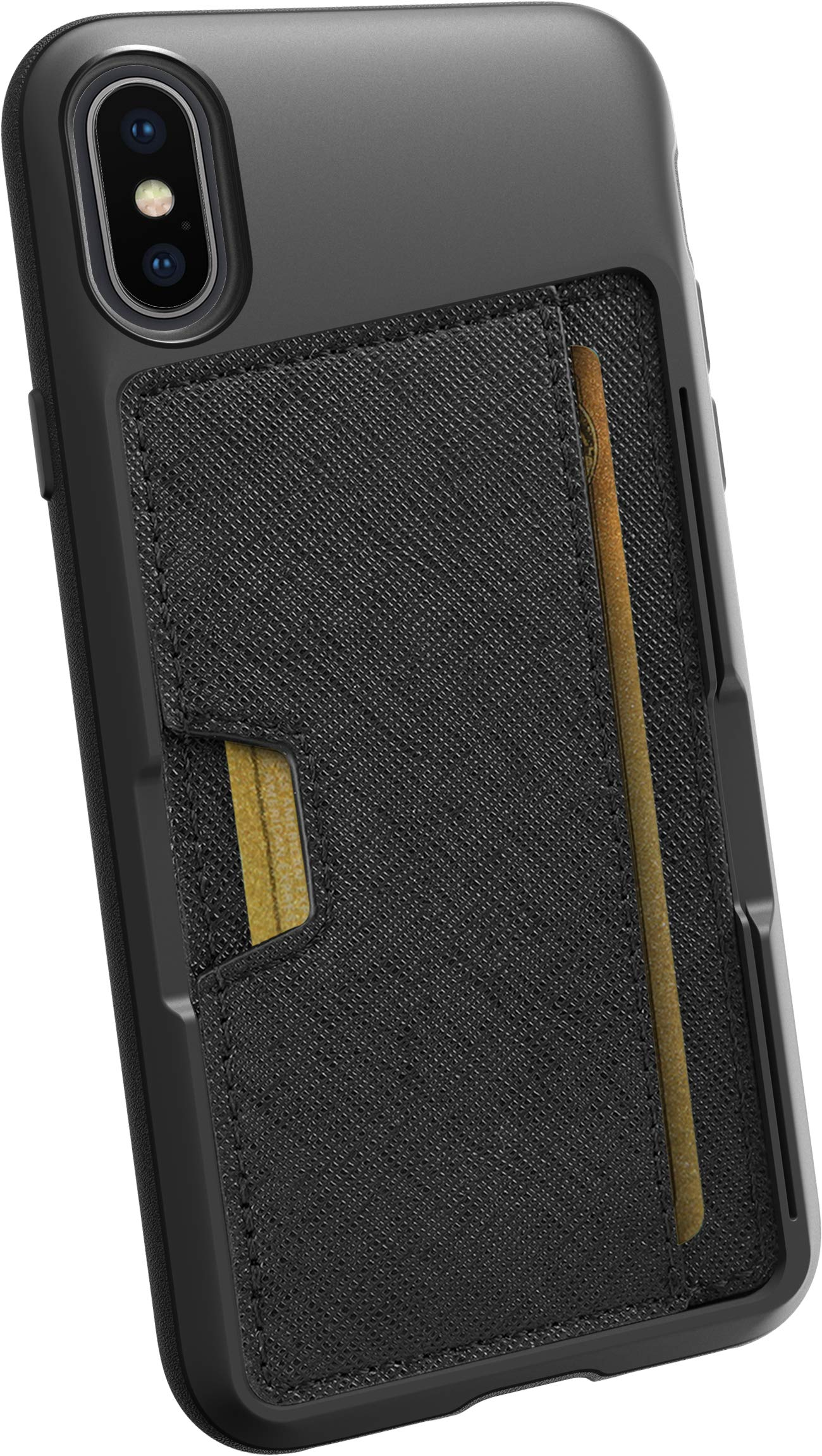 Smartish iPhone X/XS Wallet Case - Wallet Slayer Vol. 2 [Slim Protective Kickstand] Credit Card Holder for Apple iPhone 10s/10 (Silk) - Black Tie Affair by Smartish