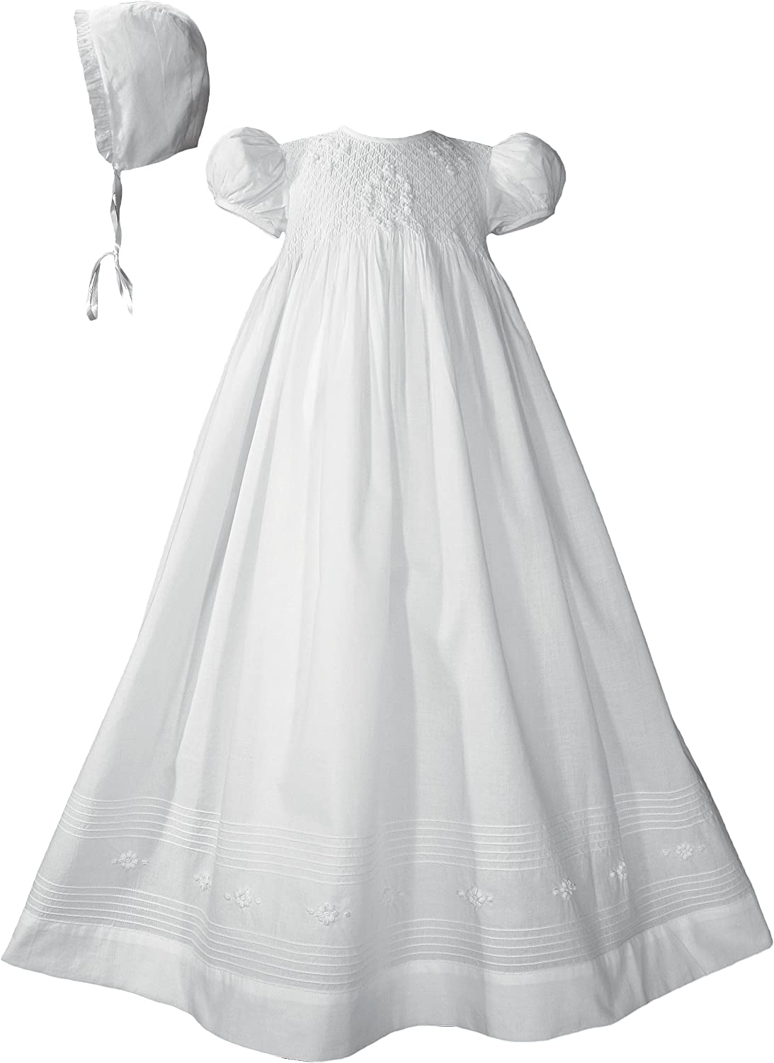 Image of 32' Girls Cotton Hand Smocked Christening Gown Baptism Dress with Hand Embroidery