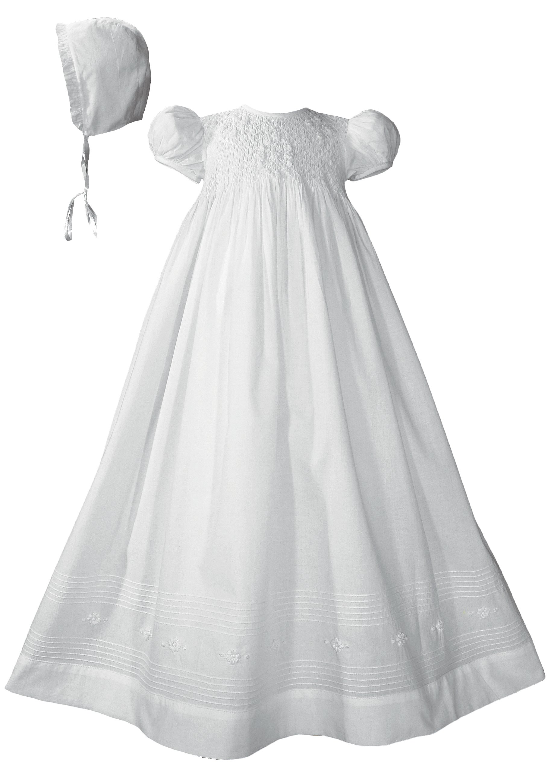 32'' Girls Cotton Hand Smocked Christening Gown Baptism Dress with Hand Embroidery Small