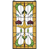 Stained Glass Panel - Ruskin Rose Two Flower Stained Glass Window Hangings - Window Treatments