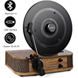 Vintage Turntable - Vinyl Record Player, ABOX Bluetooth Turntable Dual Built-in Stereo Speakers System, Bluetooth 4.1, 3 Speed Turntable, LP, USB/MP3, Vertical Turntable, Natural Wood, Great Gift
